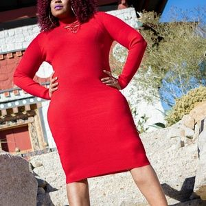 sleeved red dress